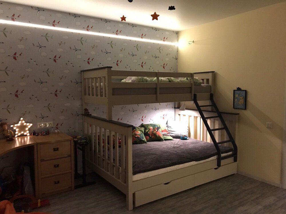 Двухъярусная кровать Скандинавия MebiGrand 120х80х190 см Орех